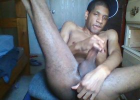 Young Black Amateur Stroking His Big Cock