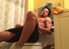 Amateur Hayden Stroking On The Toilet