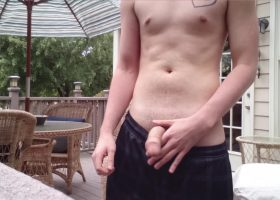 Amateur Twink Cole Stroking Outdoors