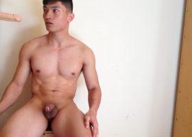 Amateur Muscular Asian Boy With Dildo