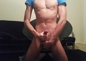 Skinny Amateur Shane Beats His Big Meat